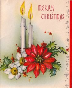 Vintage Greeting Card Christmas Candles Poinsettia L293
