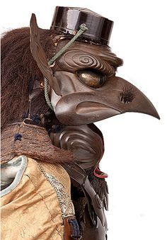 Armor with the features of a tengu.1854. Iron, lacquer, vegetable fiber, bear fur, leather, feathers, and fabric.
