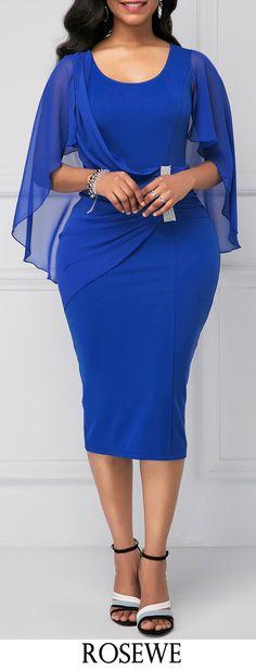 Royal Blue Back Slit Cape Shoulder Sheath Dress.#Rosewe#dress#blue