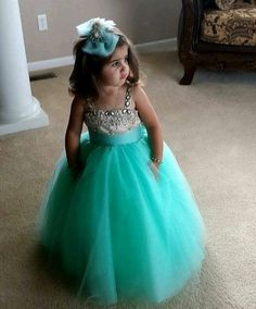 Straps Crystals Tulle Flower Girl Dress Cute Long Girl's Pageant Dress_Flower Girls Dresses_Wedding Party Dresses_Buy High Quality Dresses from Dress Factory Green Flower Girl Dresses, Tulle Flower Girl, Little Girl Dresses, Flower Girls, Dress Girl, Turquoise Flower Girl Dress, Gown Dress, Tulle Ball Gown, Ball Gowns