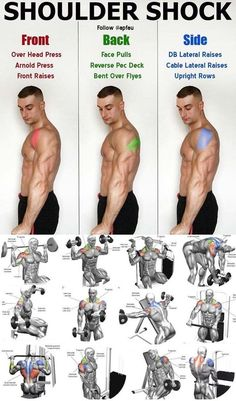SHOULDER SHOCK GUIDE Shoulders are a pretty small muscle group but dont let that fool you There are three parts that you need to hit to make sure you fully develop them Front delts are easy to target They get hit with all pressing movem - # Gym Workouts For Men, Fitness Workouts, Fitness Tips, Shoulder Workouts For Men, Weight Training Workouts, Muscle Fitness, Health Fitness, Fitness Wear, Good Shoulder Exercises