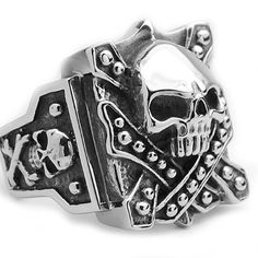 Stainless Steel Casted Skull Crossbones Biker Ring Sizes 9 to 12 Bonndorf. $17.99. Casted Biker Ring. Comes with a FREE Ring Box!!. 30-Day Money Back Guarantee. Surgical Stainless Steel 316