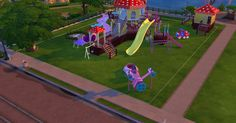 Sims 4 Custom Content or cc Download:Joyful Kids Playground Set.I created a set of playground items and kids toys for The Sims 4
