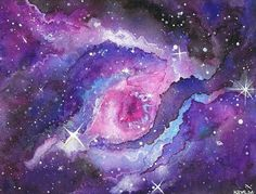 Watercolour painting of the Eye of God galaxy/nebula. This was a really fun painting to create with watercolours! Eye of God Space Watercolor, Watercolor Art Diy, Watercolor Art Lessons, Watercolor Galaxy, Watercolor Art Paintings, Art Inspiration Drawing, Art Journal Inspiration, Art Inspo, Videos Kawaii