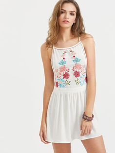 Women's Low Side Embroidered Racerback Cami Dress