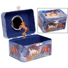 $14.99 - Clean up the jewelry in style! • Lovely tin jewelry box is lined in dark blue, and has a mirror on the lid. • Beautiful horse graphics grace the outside. • Open the lid, and a rearing horse twirls around. • Also plays music when the lid is lifted. • Measures 5.75 wide. Click here to view more girls toys!