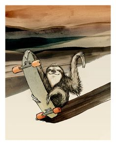 Awesome!! :: Skateboarding Sloth - Illustration Print by Catherine Odell