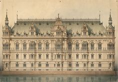 Design for an expansion of the Berlin Stadtschloss, 1887. Germany.