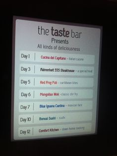The Taste Bar features a little sampling from various venues on