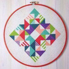 Geometric cross stitch , made by busylittlebird , design by Redbear Design - http://etsy.me/15ZoW2k