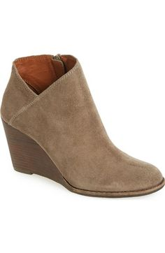 Lucky Brand 'Yakeena' Zip Wedge Bootie (Women) available at - Black Suede,  size