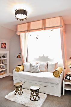 bedroom in peach + metallic Love the style & look of that canopy with the daybed!