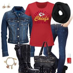 Kansas City Chiefs Jean Jacket Outfit