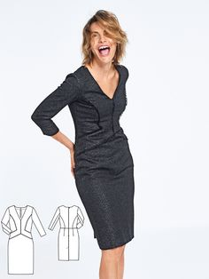 Office, dinner, a night out…This figure-hugging dress with a plunging V-neckline and sharply defined seam construction in front is a great choice for most times a dress is needed. The proportions are especially designed for tall women.