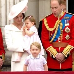The Duke and Duchess of Cambridge with Prince George and Princess Charlotte on the balcony at the Trooping The Colour on June 11,2016