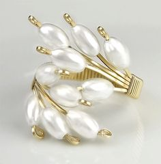 Adjustable Ring, White Cultured Pearl and Gold, Wire Wrapped Ring