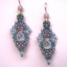 Beaded Macrame Earrings  Micro Macrame  Grey pearl by glassdancer