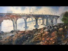 Watercolor painting of Bandra Worli sea link Watercolor Tips, Watercolour Tutorials, Painting Tutorials, Painting Tips, Watercolour Painting, Bandra Worli Sea Link, Rajiv Gandhi, Watercolours, Homework