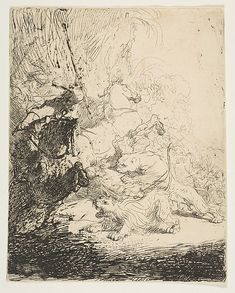 The small lion hunt, with two lions Rembrandt (Rembrandt van Rijn)  (Dutch, Leiden 1606–1669 Amsterdam) Date: ca. 1632 Medium: Etching Dimensions: sheet: 6 1/16 x 4 15/16 in. (15.4 x 12.5 cm) Classification: Prints Credit Line: Harris Brisbane Dick Fund, 1918 Accession Number: 18.19