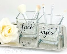 Contemporary Chic Makeup Brush Holder - Makeup Organize - Makeup Vanity - Makeup - Make up Organize - Face and Eyes - Make up Brush Holder by Khinspirations on Etsy https://www.etsy.com/listing/252256093/contemporary-chic-makeup-brush-holder