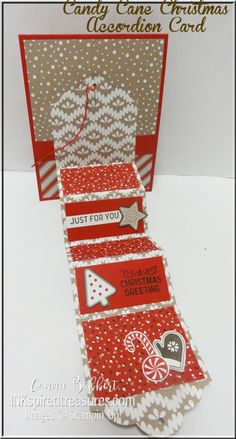 Stampin' Up!'s Candy Cane Christmas Accordion special fold card for the Create with Connie and Mary Blog Hop.  #stampinup,  #inkspiredtreasures, created by Connie Babbert, www.inkspiredtreasures.com