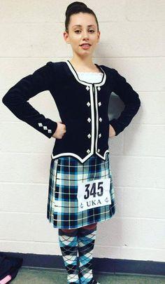 Anna in her Bonnie Shadow tartan outfit made by Highland World. Scottish Highland Dance, Scottish Highlands, Tartan Dress, Dance Wear, Dancers, High Socks, Anna, Velvet, Plaid