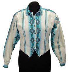 Panhandle Slim Western Cowboy Cropped Shirt Top Southwest Aztec Button M #PanhandleSlim #Western #Casual