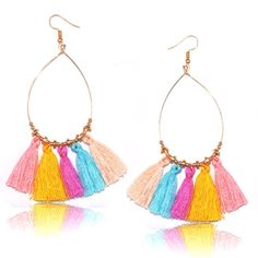 Colorful Tassel Women's earrings Round 10color Long Fashion //Price: $7.95 & FREE Shipping //     #hashtag2