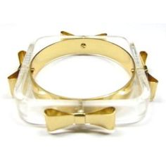 New Authentic Ted Baker London Clear Gold Bow Square Charry Bangle Bracelet