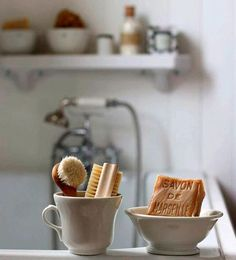 Perfect natural bathroom accessories for a country cottage. Love the traditiona., Home Accessories, Perfect natural bathroom accessories for a country cottage. Love the traditional mixer tap in the background too and the earth colours.