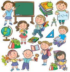 Pupils, pupils and school supplies School Cartoon, Cartoon Kids, Japanese Drawings, Easy Drawings, Drawing Lessons For Kids, Drawing School, School Clipart, Cartoon Sketches, Beautiful Drawings