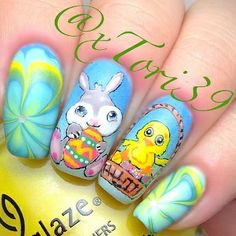 Floral Easter Nails with Bunny and Chicken