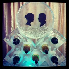 Ice Wine Rack & Display with Him-and-Her Silhouettes | Full Spectrum Ice Sculptures
