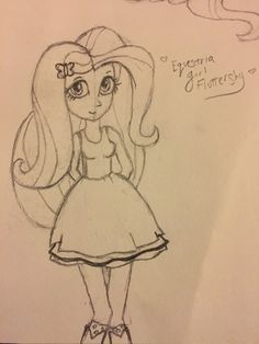 Rough draft equestria girl Fluttershy by me