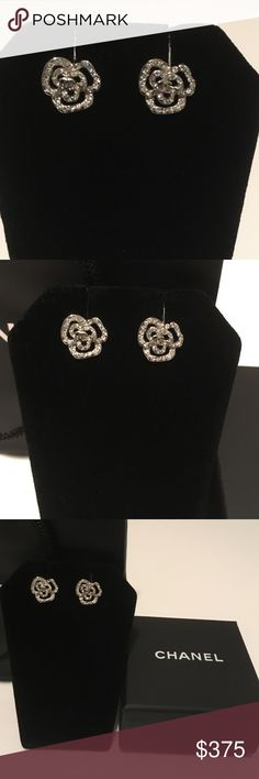 🆕 🏁FINAL Auth CHANEL Crystal Camellia Earrings Authentic CHANEL small crystal camellia earrings with double Cs in the middle. Comes with CHANEL box with the CHANEL velvet pouch included inside, and mini CHANEL shopping bag if wanted. All stones intact. Re-listed, as I had a stone replaced. CHANEL Jewelry Earrings