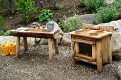 Rustic outdoor kitchen for pretend play. Adorable and environmentally friendly