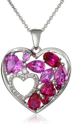 Sterling Silver Created Ruby, Sapphire and White Sapphire Double Heart Diamond Pendant Necklace #Necklace