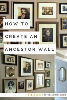to Create a Beautiful Ancestor Wall in Just a Few Easy Steps A step by step guide for displaying your old family photos in a beautiful ancestor gallery wallA step by step guide for displaying your old family photos in a beautiful ancestor gallery wall Family Pictures On Wall, Vintage Family Photos, Display Family Photos, Displaying Photos On Wall, Family Picture Walls, Family Tree Wall, Family Room, Family Wall Decor, Sitting Room Decor