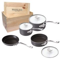m stone2 7 piece set. with crate. mauviel.