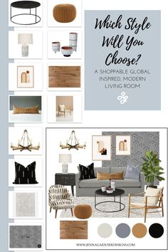Shop the look! What is your modern design style? #moderndesign #globaldesign #interiordesignThis modern living room design is curated using neutrals and pops of orange and brass. The distinct bold black and white pattern paired with the burn orange and light blue color palette create a warm and inviting, global-inspired space. Mudcloth Pillows