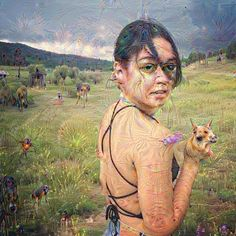 Confirmed: if you have an empty grass field in your image, Deep Dream WILL fill it with weird beasts. I really like this one because it looks like the lady in the picture has realized something is dangerously wrong