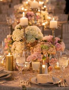 50 Fabulous and Breathtaking Wedding Centerpieces – My Wedding Dream Candelabra Wedding Centerpieces, Gold Candelabra, Reception Decorations, Table Decorations, Reception Ideas, Gold Candles, Reception Table, Pillar Candles, Dream Wedding