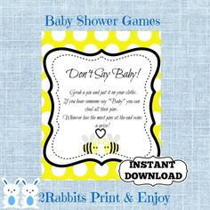 Bumble Bee Don't Say Baby Baby Shower Printable Sign Game -Bee Baby Shower Pin Cloths Baby Shower Game - Instant Download - Yellow Polka Dot