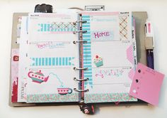 Filofax decorated week in pink and blue <3