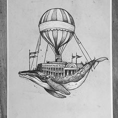 Here's a great #airship #inkdrawing by @tomtomtatts, a tattoo artist from Glasgow, United Kingdom, of an entire fairground built on the back of a blue whale, flying above the clouds with the help of a massive hot air balloon. At first I wasn't sure if I should feel bad for the whale---I mean, who would build structures like that right into its back like that? But then I thought that maybe this is some mythical whale that carries around a magical theme park that you can only get to under…