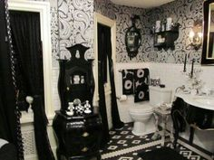 Gothic Bathroom Style With Small Hutch And Wallpaper And Sink With Legs And Mirrors And Open Shelf Over Toilet