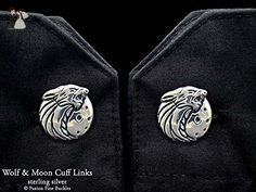 Howling Wolf Head Cuff Links in Solid Sterling Silver Hand Carved & Cast by Paxton - Groom cufflinks and tie clips (*Amazon Partner-Link)