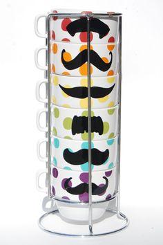 Multi Color Polka Dot Mustache Coffee Mugs  set of by lovegracejoy, $34.00