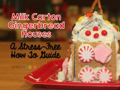 Simply Kinder: Milk Carton Gingerbread Houses - A How To with Freebies! Graham Cracker Gingerbread House, Gingerbread House Parties, Make A Gingerbread House, Christmas Gingerbread, Christmas Activities, Christmas Projects, Christmas Ideas, Winter Activities, Christmas Time