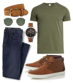 """Casual Mood"" by jennie-wilkie on Polyvore featuring Lands' End, Sørensen, Lacoste, Bell & Ross, Ray-Ban, Bergè, men's fashion and menswear"